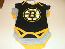 2012-13 Boston Bruins 3pc Foldover Neck Creeper Set 24 Months NHL Hockey