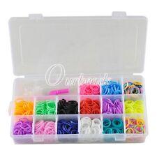1500 New Colourful Rubber Loom Band Bracelet Making Kit Set S-Clip Loom Tool