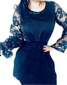 Black Lace & Silk Chiffon Party Skater Dress / Size 10 / New