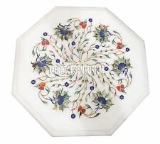 "12"" Marble White Side Marquetry Table Top Rare Floral Inlay Furniture Gift Decor"