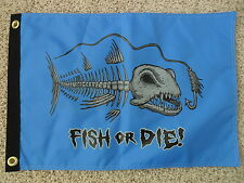 """12""""X18"""" """" FISH OR DIE"""" PIRATE FLAG DBL SIDED NYLON BOAT/MOTORCYCLE MADE IN USA"""
