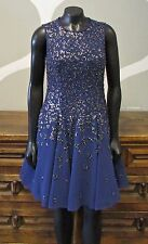 REBECCA TAYLOR 4 Royal Blue Beaded Sequin Cocktail Evening Dress - NEW NWT $1395
