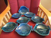 "Lot of 8 Vintage 1970 Holland Mold glazed Ceramic Fish Plates Blue/Green 7""x 6"""