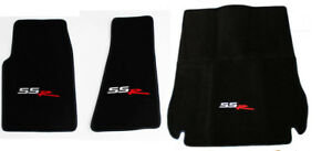 NEW! BLACK Front Floor Mats 2003-2004 CHEVY SSR Embroidered LOGO 3 Pc Set Cargo
