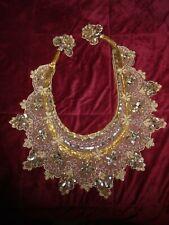 "Beaded Gypsy Belly Dance Skirt Sash Tie Side Hip Belt Turkish Ethnic Gold 43"""