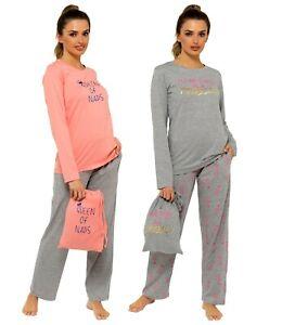 Ladies Pyjama Set with Gift Bag Womens Cotton Jersey Lounge Wear Pyjamas PJs