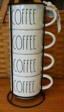 4 NEW RAE DUNN STACKING COFFEE BAR MUG SET METAL RACK HALLOWEEN THANKSGIVING