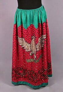 VTG Women's 40s 50s Red & Green Mexican Eagle Sequined Skirt Sz XL 1940s 1950s