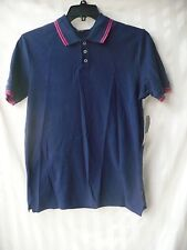 Adam Levine Men's Polo Shirt  Navy Blue With Pink Stripe Size Small New