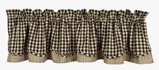 Country Heritage House Black Layered Lined Valance 72X15.5 Black Check Farmhouse