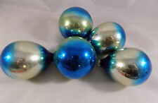 5 Vintage Shiny Brite Christmas Ornaments Gold Blue Ombre Glass Teardrop Round