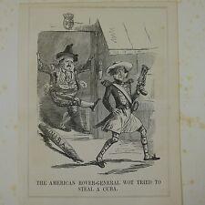 "7x10"" ponche de dibujos animados 1850 la American Rover general WOT intentó robar un Cuba"