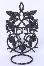 Cast Aluminum Vintage Garden Wall Plant Holder Gothic Style Black Floral Design