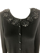 Debbie Morgan Cardigan Ladies S Sweater Black Jeweled Long Sleeve Small