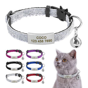 Safety Quick Release Breakaway Kitten Pet Cat Collar & Slide On Tag Anti-lost