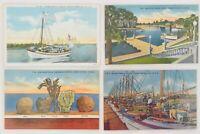 Lot of 4 Vintage Unused Linen Postcards - Tarpon Springs, Florida