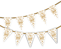 Happy New Year 2019 Gold and White Bunting Banner 15 flags by PARTY DECOR