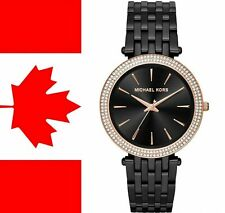 "Michael Kors MK3407 ""Darci"" Rose-Gold Tone Crystal Black Bracelet Women's Watch"