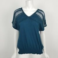LC Lauren Conrad Blouse Womens Size XS Teal Crochet Lace Short Sleeve Top