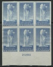 US #760 VF MNH IMPERF FARLEY PLATE #21280 BLOCK OF 6 WITH NO GUM AS ISSUED