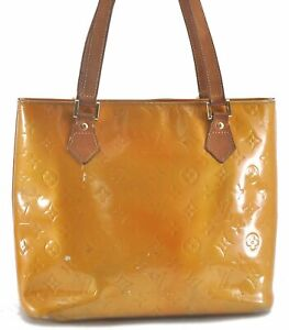 Authentic Louis Vuitton Vernis Houston Shoulder Bag Yellow LV B7897
