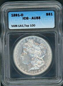 """1891O Morgan Silver Dollar CERTIFIED ICG AU55 VAM 1A1 TOP 100 """"E"""" REVERSE ERROR"""