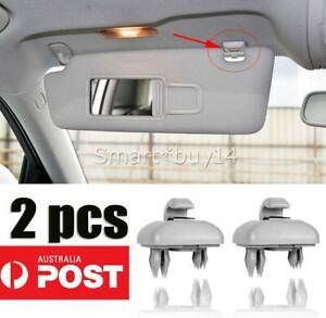 2* Sun Visor Clip Holder Hook Bracket For Audi A1 A3 A4 Q3 Q5 TT 8U0857562A Gray
