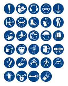 Aufkleber Gebot Schild Gebotszeichen Gebots zeichen DIN 4844 ISO 7010