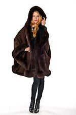 Womens Hooded Cashmere Cape with Fox Fur Trim Detachable Hood Brown