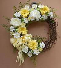 "17"" Yellow White Floral Door Grapevine Wreath Handmade"