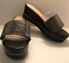 NEW Black Sparkly Wedge Slide Bamboo Brand - Size 7