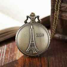 Vintage Paris Eiffel Tower Quartz Pocket Watch Necklace Pendant Chain For Women