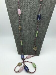 "Glass Bead 42"" Strand Necklace Gold Tone Flower Pendants Purple, Blue, & Green"