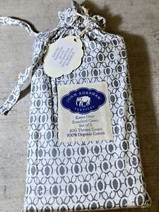 John Robshaw Kama Percale 2 Standard Pillowcases Set Gray Coffee Grain New