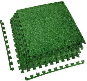 Sorbus Grass Mat Interlocking Tiles - Soft Artificial Deck Carpet Turf Flooring