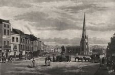 The Bull Ring, with St. Martin's Church, Birmingham, in 1812, old print, 1887