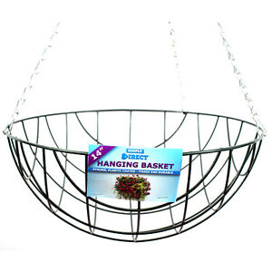 """14"""" (35cm) Hanging Basket Garden Plant Holder Strong Wire With Chains & Hook"""