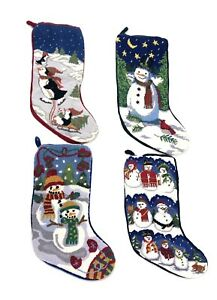 "Vintage Velvet Knit 4 Stocking Christmas Snowman Penguin Red Green Blue 15"" Inch"