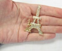 Gold Plated Rhinestone Crystal Paris Eiffel Tower Pin Brooch Mothers Day Gift
