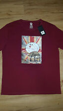 XRAY Jeans Union Jack Doraemon Logo T-Shirt Men Size XL BURGUNDY graphic tee