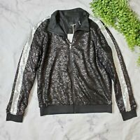 Dolce Cabo Black & Silver Matte Sequin Track Bomber Zip Up Jacket M 8 10 NWT
