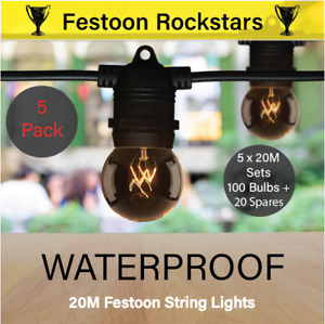 5 Pack 20m Black Festoon String Light Kits | Waterproof Outdoor | Wedding, Party