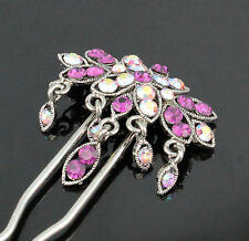 Dangle Geisha Purple Austrian Rhinestone Stick Hair Pick Pin C1178