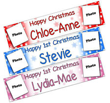 PERSONALISED BANNERS NAME AGE PHOTO BIRTHDAY PARTY Snow xmas red blue pink Z1