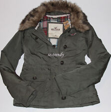 HOLLISTER by Abercrombie Womens Fur Trim Collar Down Parka Jacket Coat Olive S
