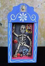 Day of the Dead skeleton Retablo Dias de los Muertos, Wood Niche Mexico Folk Art