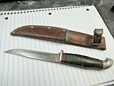 Vintage Jean Case Cut Co Little Valley Stack Handle Fixed Blade Knife & Sheath
