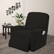 Pique Stretch Form Fit Furniture Chair Recliner Lazy Boy Cover Slipcover - Black