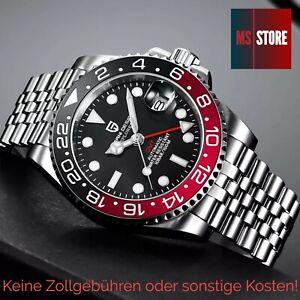 Pagani Design GMT Automatik Uhr Schwarz Rot PD-1662 Herrenuhr Saphirglas