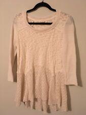 Meadow Rue Anthropologie Cream 3/4 Sleeve Sweater, Size Medium